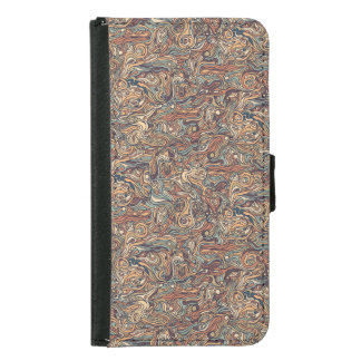 Abstract colorful hand drawn curly pattern design samsung galaxy s5 wallet case