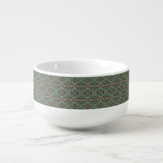 Abstract colorful hand drawn curly pattern design soup bowl with handle