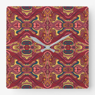 Abstract colorful hand drawn curly pattern design square wall clock