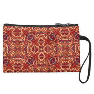 Abstract colorful hand drawn curly pattern design suede wristlet