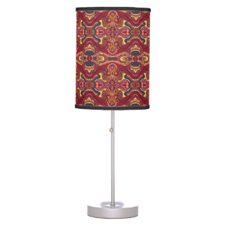 Abstract colorful hand drawn curly pattern design table lamp