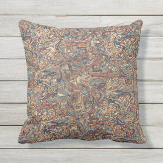Abstract colorful hand drawn curly pattern design throw pillow