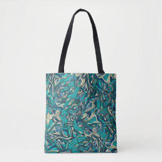 Abstract colorful hand drawn curly pattern design tote bag