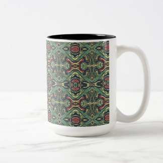 Abstract colorful hand drawn curly pattern design Two-Tone coffee mug