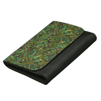 Abstract colorful hand drawn curly pattern design wallets for women