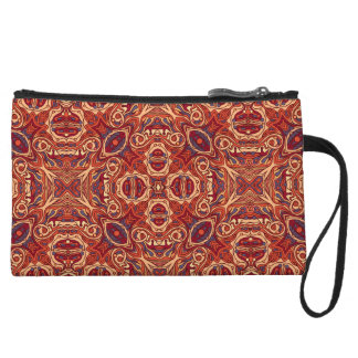 Abstract colorful hand drawn curly pattern design wristlet