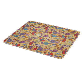 Abstract colorful hand drawn floral pattern design boards