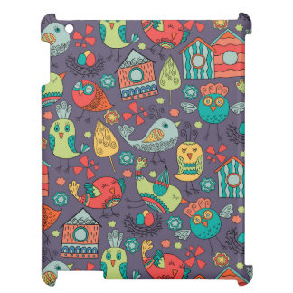 Abstract colorful hand drawn floral pattern design case for the iPad
