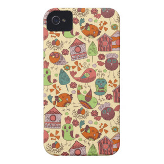 Abstract colorful hand drawn floral pattern design Case-Mate iPhone 4 cases