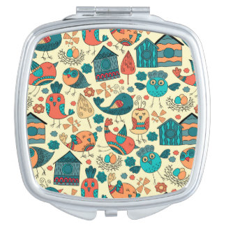 Abstract colorful hand drawn floral pattern design compact mirror