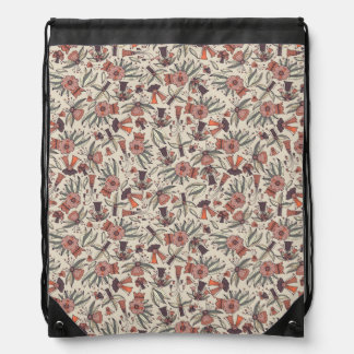 Abstract colorful hand drawn floral pattern design drawstring bag