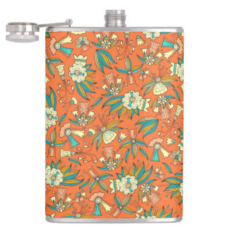 Abstract colorful hand drawn floral pattern design flasks