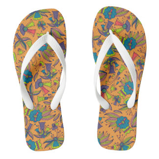 Abstract colorful hand drawn floral pattern design flip flops