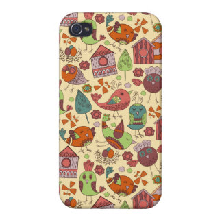 Abstract colorful hand drawn floral pattern design iPhone 4 cases