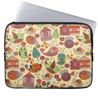 Abstract colorful hand drawn floral pattern design laptop sleeve