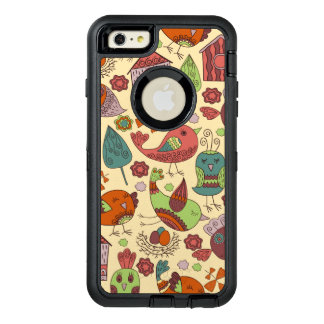 Abstract colorful hand drawn floral pattern design OtterBox defender iPhone case