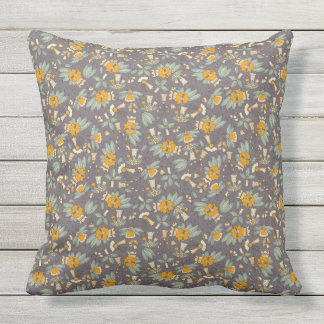 Abstract colorful hand drawn floral pattern design outdoor pillow
