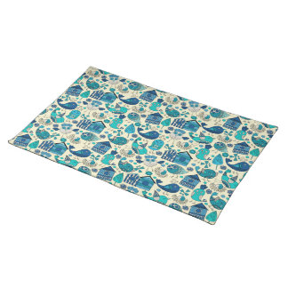 Abstract colorful hand drawn floral pattern design placemat