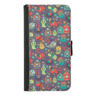 Abstract colorful hand drawn floral pattern design samsung galaxy s5 wallet case