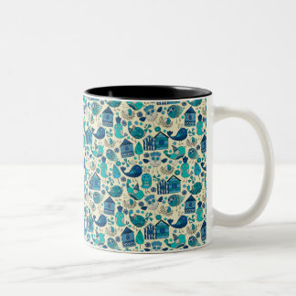 Abstract colorful hand drawn floral pattern design Two-Tone coffee mug