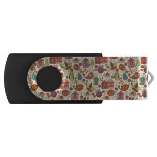 Abstract colorful hand drawn floral pattern design USB flash drive