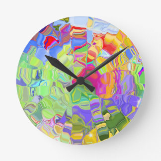 Abstract Colorful Ice Cubes Clock