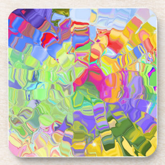 Abstract Colorful Ice Cubes Drink Coasters
