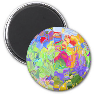 Abstract Colorful Ice Cubes Magnet