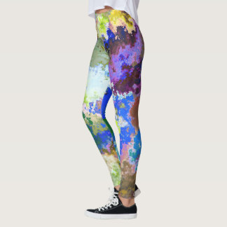 Abstract Colorful Paint Pattern Leggings