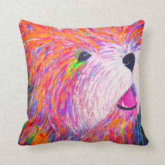 Abstract Colorful Painting Westie Dog Pillow
