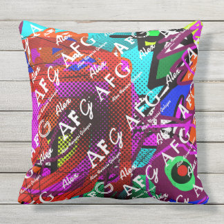 abstract & colorful pattern of name & initials throw pillow