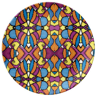 Abstract Colorful Pattern Plate