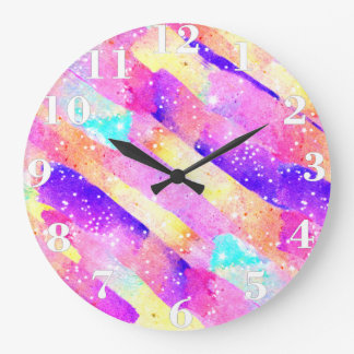 Abstract colorful rainbow watercolor brushstrokes wall clock