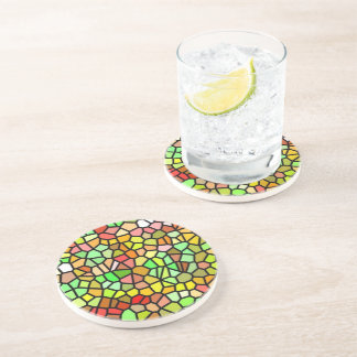 Abstract colorful stained glass beverage coaster