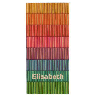 Abstract colorful stripes pattern name wood USB flash drive