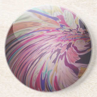 Abstract, colorful swirl and stripe shiny marble coaster
