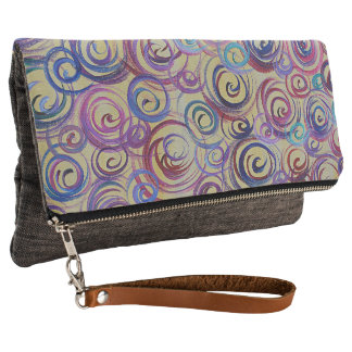 Abstract Colorful Swirls Clutch Bag