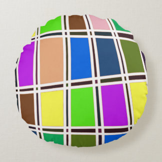 Abstract Colorful Tile Design Round Pillow