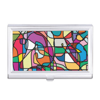 Abstract Colors Doodle Business Card Holder