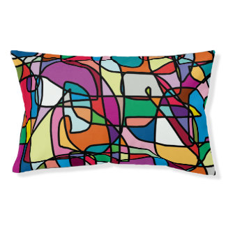 Abstract Colors Doodle Outdoor Dog Bed Small Dog Bed