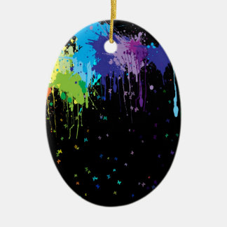 Abstract Colors Splash Paints Ceramic Oval Ornament