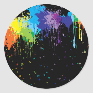 Abstract Colors Splash Paints Classic Round Sticker
