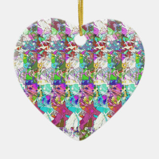 Abstract Colors Variation Ceramic Heart Ornament