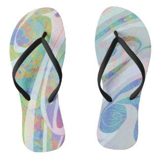 Abstract Colors Waves Design Flip Flops