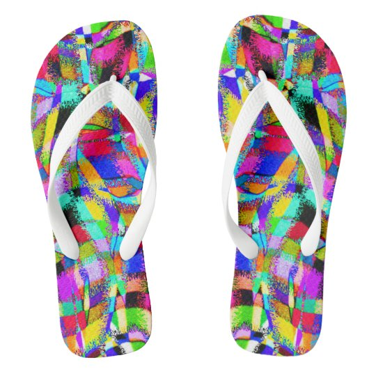 Abstract Colour Waves - Darker Flip Flops