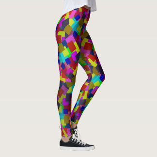 Abstract Coloured Scattered Paper Pattern, Leggings