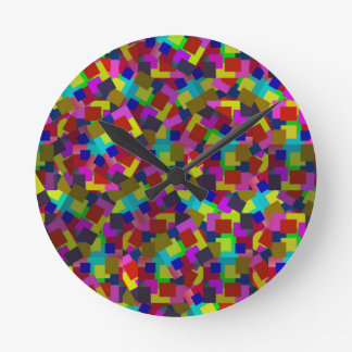 Abstract Coloured Scattered Paper Pattern, Round Clock