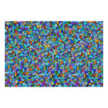 Abstract Colourful Blue Mosaic Pattern Poster