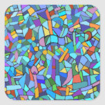 Abstract Colourful Blue Mosaic Pattern Square Stickers