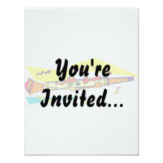 Abstract colourful clarinet graphic image design 4.25x5.5 paper invitation card